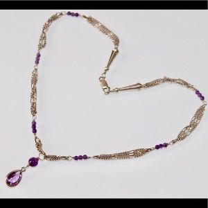 Jewelry - Vintage Sterling Silver Amethyst Drop Necklace